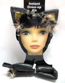 Vinyl Kitty Ears Tail Black Cat Set Halloween Costume Instant Kit