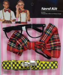 Nerd Glasses Bow Tie Suspenders Set Halloween Costume Instant Kit