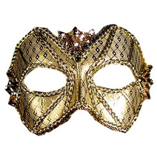 """Jupiter"" Gold Sequin Metallic Masquerade Prom Ball Mask"