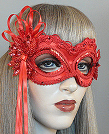"""Valentina"" Red Beaded Velvet Masquerade Prom Ball Mask"