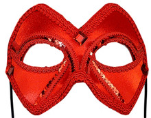 """Valentina Companion"" Red Beaded Velvet Masquerade Prom Ball Mask"