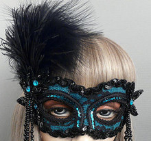 """Desiree'"" Black Teal Beaded Feather Masquerade Prom Ball Mask"