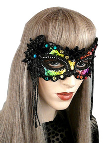 """Midnight Rainbow"" Black and Multicolor Fabric, Beading Masquerade Ball Mask"