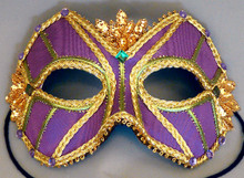 """Mardi Gras King"" Purple Gold Sequin Crystals Masquerade Mask"