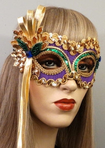 """Mardi Gras Sweetheart"" Purple Green Gold, Sequins Masquerade Mask"