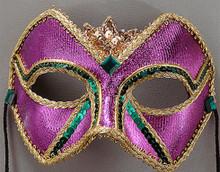 """Mardi Gras Jubilee"" Men Purple Green Gold Masquerade Prom Ball Mask"