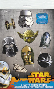 Darth C3PO R2D2 Yoda Star Wars Photo Props Birthday Party Supplies 8 pc