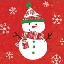 Very Merry Snowman Christmas 30 Ct Beverage Napkins