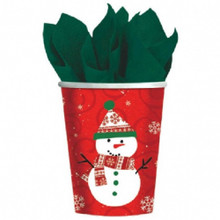 Very Merry Snowman Christmas 9 oz 8 ct Paper Cups Hot Cold
