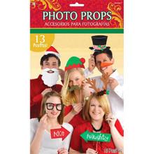 Christmas Photo Props Party Supplies 13 pc Santa Elf Reindeer Snowman