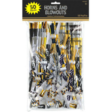 Horns Blowouts Black Silver Gold Mega Pack 50 Noisemakers New Years Eve Party