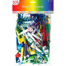 Horns Blowouts Rainbow Mega Pack 50 Noisemakers New Years Eve Party