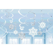 Snowflakes Value Pack 12 Ct Hanging Foil Swirls Decorations Blue White