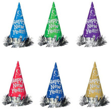 "12 MultiColor 9"" Foil Cone Hats Tinsel Metallic Party New Years Eve"