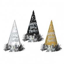 "12 Black Silver Gold 9"" Foil Cone Hats Tinsel Metallic New Years Eve Party"