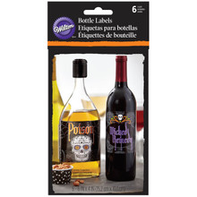 Wilton Bottle Wine Liquor Soda Stickers Labels 6 Ct Day of the Dead Halloween