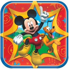 """Mickey Mouse Clubhouse 8 Square 7"""" Dessert Cake Plates Birthday Party"""