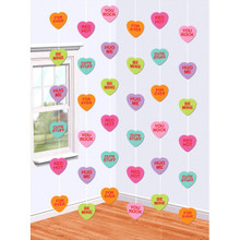 Valentines Day Candy Hearts Doorway String Decoration 6 pc 7' Paper