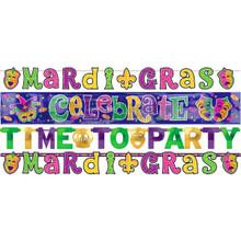 Mardi Gras Letter Banner Combo Pack 4 Ct