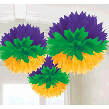 Mardi Gras Hanging Fluffy Purple Green Yellow Party Decorations
