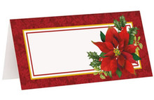 Holly Poinsettia Christmas Placecard Place Cards 16 ct