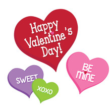 Candy Hearts Valentines Day 12 inch 3 Ct Cutouts Paper Party