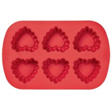 Wilton Ruffled Heart Silicone Red Valentines Day Mold 6 Cavities
