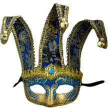 Blue Gold Jester Mardi Gras Masquerade Mask Bendable