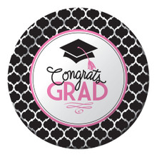 "Glamorous Grad Pink Black 9"" Lunch Plates 18 Value Size Graduation"