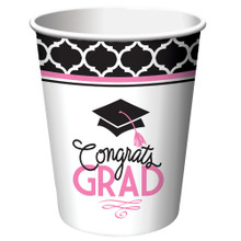 Glamorous Grad Pink Black 9 oz Cups Paper 18 ct Value Size Graduation