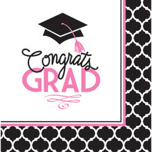 Glamorous Grad Pink Black 36 ct Luncheon Napkins Value Size Graduation
