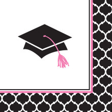 Glamorous Grad Pink Black 36 ct Beverage Napkins Value Size Graduation