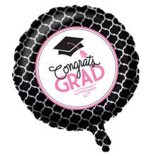 "Glamorous Grad Pink Black Foil Balloon ""Congrats Grad"" Graduation"