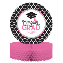 Glamorous Grad Pink Black Centerpiece 12x9 Congrats Grad Graduation