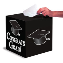 "Black White Graduation Card Box 9 x 9 ""Congrats Grad"" Graduation"