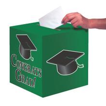 """Green Black Graduation Card Box 9 x 9 """"Congrats Grad"""" Graduation"""
