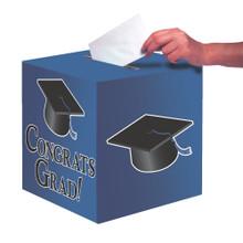 """Blue Black Graduation Card Box 9 x 9 """"Congrats Grad"""" Graduation"""