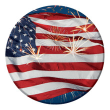 Firework Finale Flag 7 inch Dessert Plates 8 ct 4th July Stars Stripes