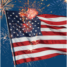 Firework Finale Flag Lunch Napkins 16ct 4th July Stars Stripes Lunch