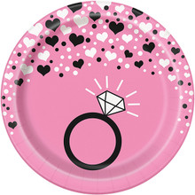 "Bachelorette Party Hearts Ring 8 7"" Dessert Plates Shower Bridal"