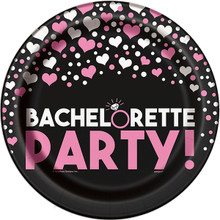 "Bachelorette Party Hearts Ring 8 9"" Dinner Plates Shower Bridal"