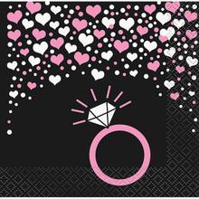 Bachelorette Party Hearts Ring 16 Beverage Napkins Shower Bridal