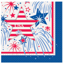USA Fireworks July 4th Beverage Napkins Memorial Veterans Day 16