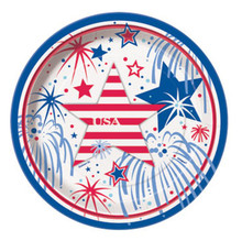 USA Fireworks July 4th 8 Dessert Plates Memorial Veterans Day