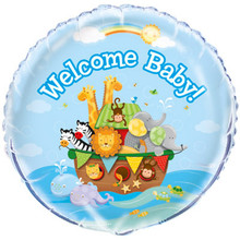 "Noah's Ark Foil 18"" Balloon Baby Shower Rainbow ""Welcome Baby"""