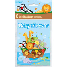 Noah's Ark Baby Shower 8 Ct Invitations Elephant Monkey Zebra