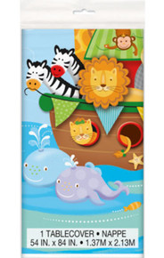 Noah's Ark Baby Shower Tablecover 54 x 84 Plastic Elephant, Monkey
