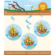 Noah's Ark Baby Shower 3 Hanging Swirls 26 inch Zebra, Lion