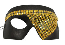 """Rune"" Black Gold Studded Steampunk Masquerade Prom Halloween Mask"