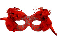 """Cerise"" Red Flower Day of the Dead Masquerade Prom Mask"